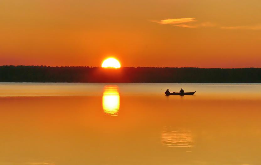 Захід сонця на озері Світязь